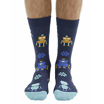 Robot soft bamboo organic crew socks in navy | By seriouslysillysocks