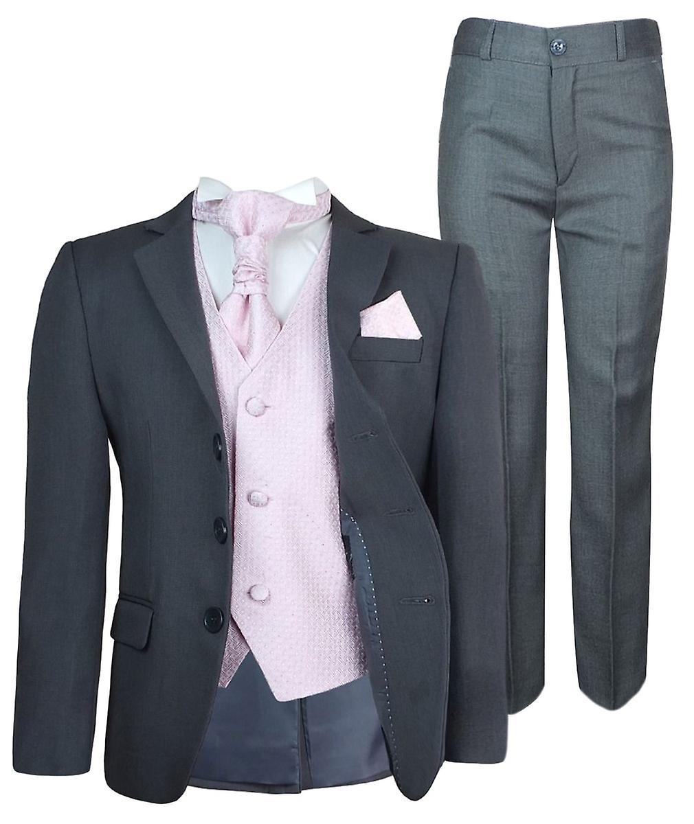 Boys New 5 Pc Grey & Pink Wedding Cravat Suit
