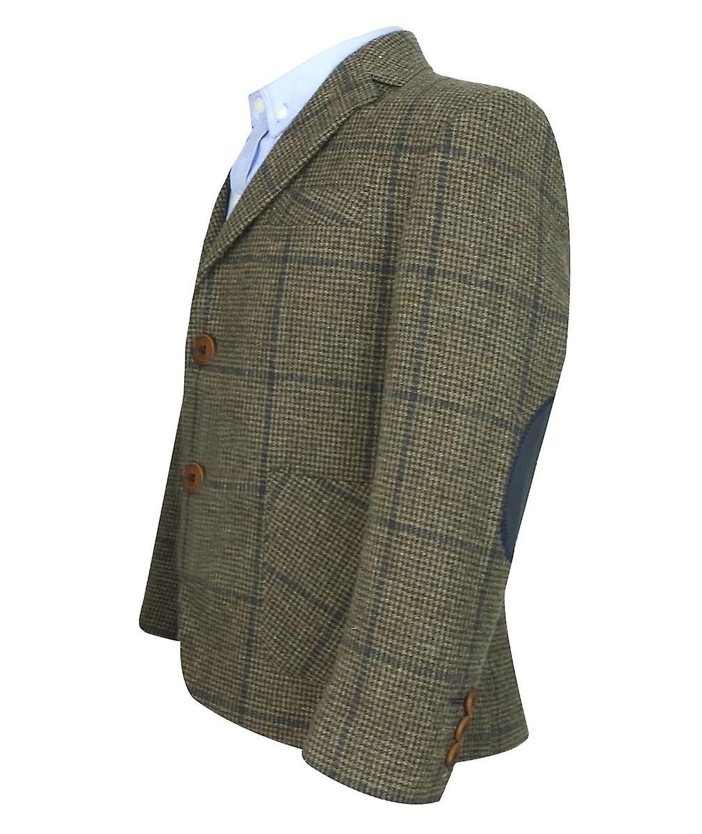 Couche Tot Herringbone Tweed 4 Piece Boys Wool Suit in Brown and Navy Blue