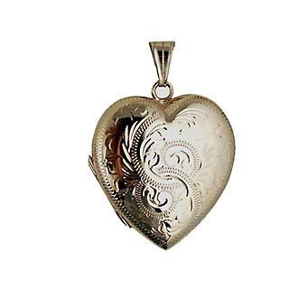 9ct Gold 30x28mm hand engraved family heart shaped Locket