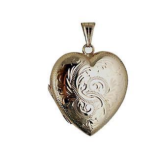 9 قيراط الذهب اليد 30x28mm محفورة على شكل المنجد قلب الأسرة