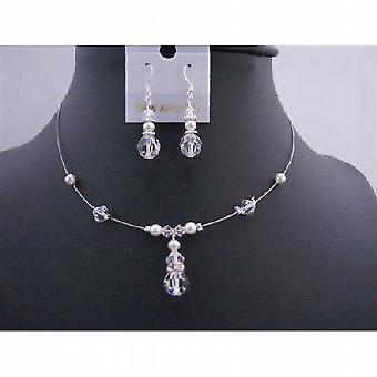 Demoiselle d'honneur Swarovski cristaux clairs blanc collier de perles de mariage Set