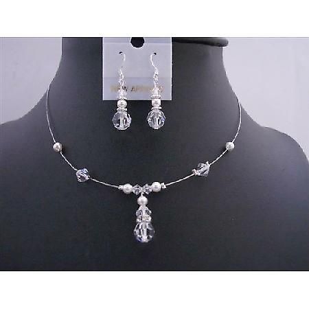 Bridesmaid Swarovski Clear Crystals White Pearls Wedding Necklace Set