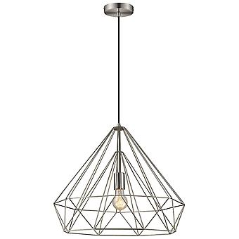 Spring Lighting - Telford Large Satin Nickel Cage Pendant  NFSU050TO1QFOE