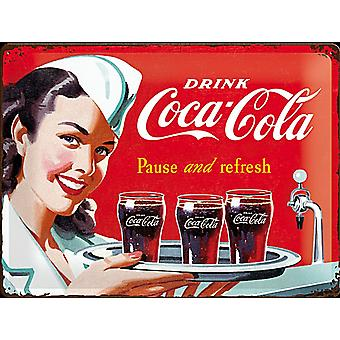 Coca Cola Pause and Refresh Waitress large embossed steel sign    (na 4030)
