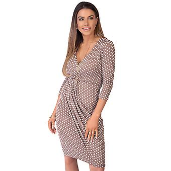 KRISP  Womens Fit Polka Dot Swing Dress Low Cut Gathered Waist 3/4 Sleeve Wrap