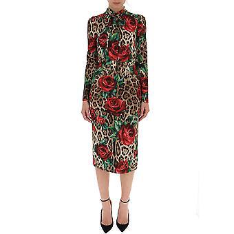 Dolce E Gabbana Leopard sidenklänning