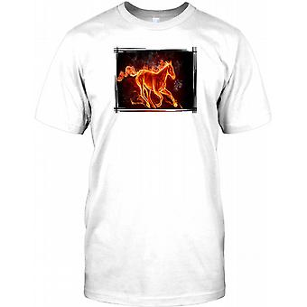 Galloping Horse - Fire Effect- Cool Mens T Shirt