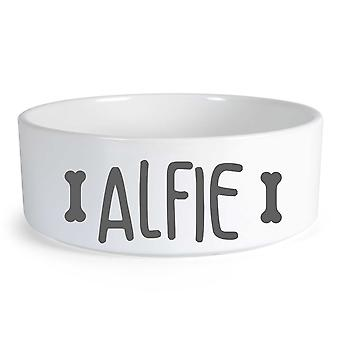 Peronalised Dog Food Bone Small Ceramic Dog Bowl