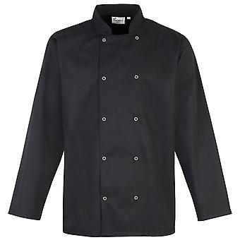 Premier Studded Front Long Sleeve Chefs Jacket / Chefswear (Pack of 2)