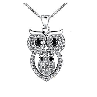 Woman's Pendant Maman Owl and her Little Ornate Swarovski Crystal