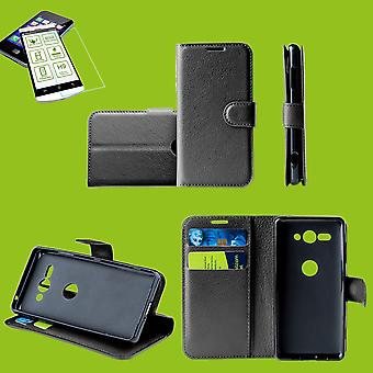 For Huawei kompis 20 X / kompis 20 X Pocket lommebok premie svart beskyttende ermet coveret veske + 0,26 mm H9 2.5 vanskelig glass