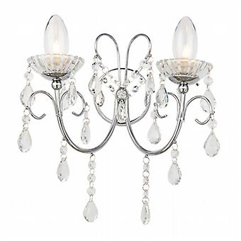 Endon 61385 Tabitha Crystal Glass Wall Light IP44