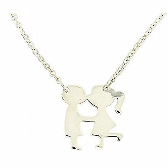 TOC Sterling Silver Girl & Boy Pendant on 16 - 18 Inch Extendable Chain