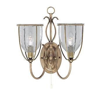 Sylwetka Antique Brass podwójne ściany światło z nasionami szkła odcienie - Searchlight 6352-2AB