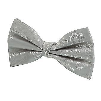 Dobell Boys Silver Paisley Bow Tie Pré-tied