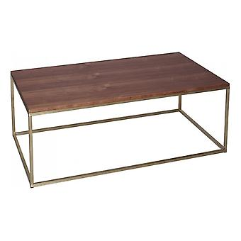 Gillmore Space Walnut And Gold Metal Contemporary Rectangular Coffee Table