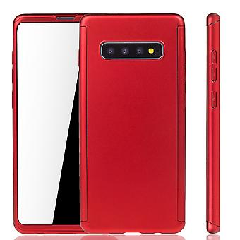 Samsung Galaxy S10 Plus Phone Case Protection Case Full Cover Tank Protection Foil Red