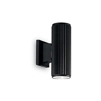 2 Light Outdoor Wall Light Black White Ip44