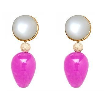 Gemshine earrings white moonstones, pink pink jade gemstone drops - gold plated