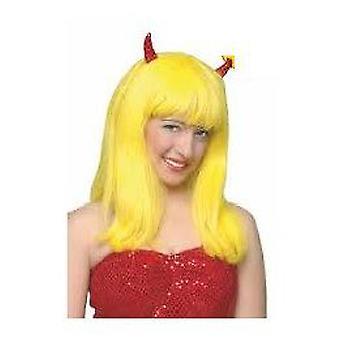 Rubie Diablesa gul Wig med horn (babyer og barn, kostymer)
