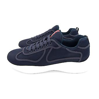 Prada Americas Cup Rubber-Trimmed Mesh Sneakers Blue/white