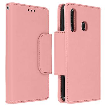 Magnetic Detachable Wallet Folio Case for Samsung Galaxy A50 - Pink