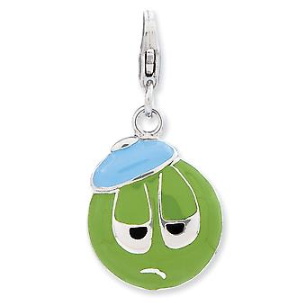 925 Sterling Silver Rhodium-plated Fancy Lobster Closure Enameled 3-d Sad Face With Lobster Clasp Charm