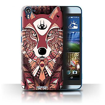 STUFF4 Case/Cover for HTC Desire 826/Wolf-Red/Aztec Animal
