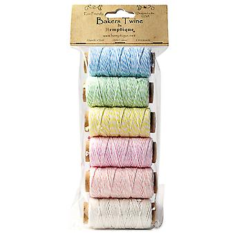 Bakers Twine 2 lagige Mini Spool Bag Set 6 Pkg Creme Pastell Btbg2cp