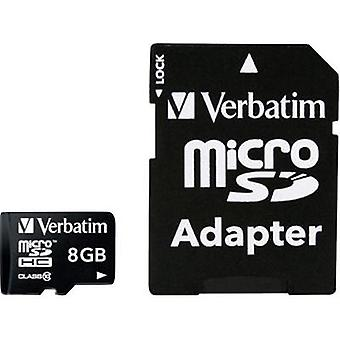 microSDHC card 8 GB Verbatim MICRO SDHC 8GB CL 10 ADAP Class 10 incl. SD adapter
