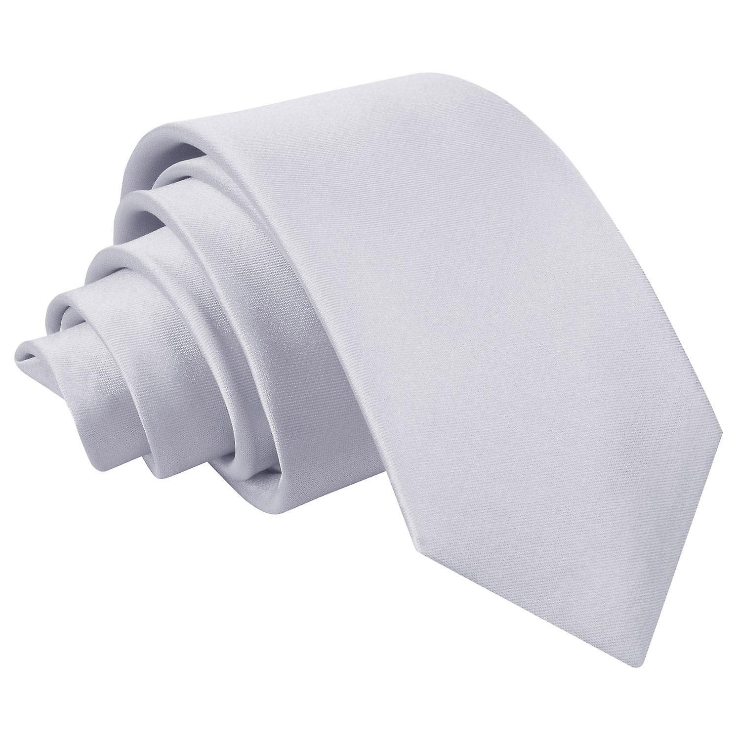 Boy's Plain Silver Satin Tie  (8+ years)