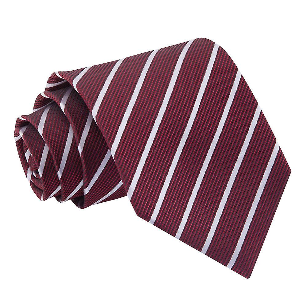 Single Stripe Burgundy & Silver Tie
