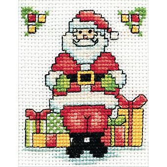 Santa W/Frame Mini Counted Cross Stitch Kit-3