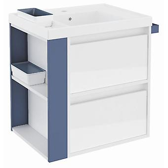 Bath+ Sink cabinet 2 Drawers With Resin White Gloss Blue 60CM
