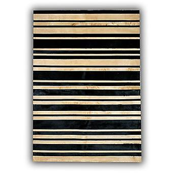 Rugs -Patchwork Leather Cowhide - ST9-10 Black Beige Stripes