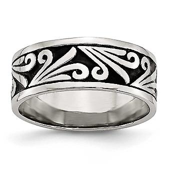 Stainless Steel Fancy Design Antiqued Band Ring - Size 11.5