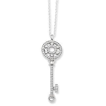 Sterling Silver and Cubic Zirconia Polished Key Necklace - 18 Inch