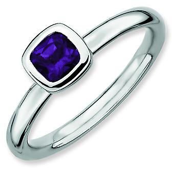 Sterling Silver Stackable Expressions Cushion Cut Amethyst Ring - Ring Size: 5 to 10