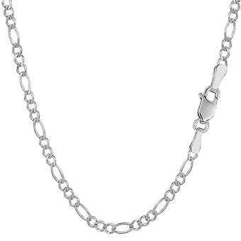 14 k White Gold Classic Figaro Kette Armband, 2,6 mm