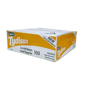 Tydisan Sanded Sheets Yellow Round Bulk 33cm (Pack of 100)