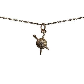 9ct Gold 16x12mm Ball of Wool and Knitting Needles Pendant with a cable Chain 16 inches Only Suitable for Children
