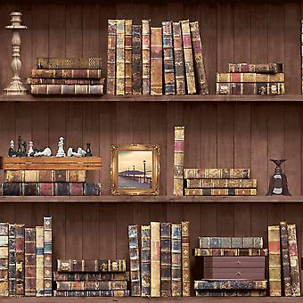 Bookcase Wallpaper Books Vintage Antique Retro Wooden Brown Natural Holden