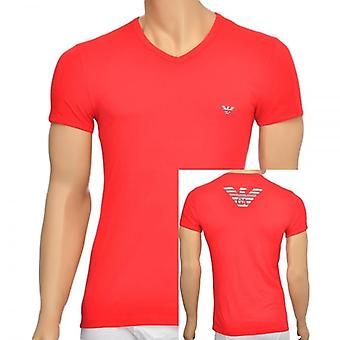 Emporio Armani Eagle Stretch Cotton V-Neck T-Shirt, Red, X Large