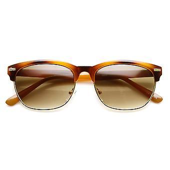 Moda retro Dapper cuerno Oval con bordes medio marco gafas de sol
