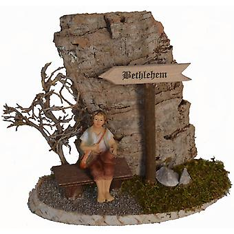 Bethlehem sign with Bank and Shepherd for Nativity wooden Christmas crib stable Nativity accessories