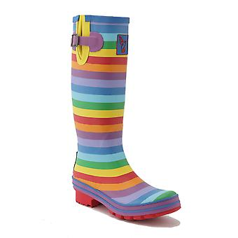 Evercreatures Ladies Festival Wellies Striped Rainbow Pattern - Various Sizes