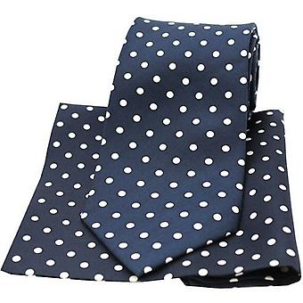 David Van Hagen Polka Dot Matching Tie and Pocket Square Set - Navy/White