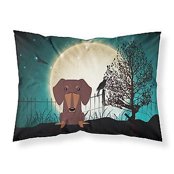 Halloween miedo Dachshund tela Chocolate estándar funda de almohada