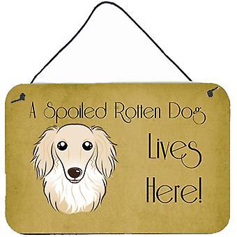 الكلب الألماني كريم ذي الشعر الطويل مدلل الكلب حياة هنا على الحائط أو الباب معلقة يطبع